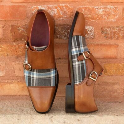 Custom Made Double Monks in Dark Brown Box Calf, Medium Brown Painted Calf and Plaid Sartorial