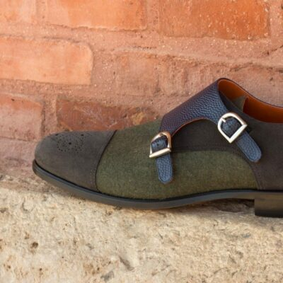 Custom Made Double Monks in Green Flannel, Grey Luxe Suede and Navy Blue Pebble Grain Leather
