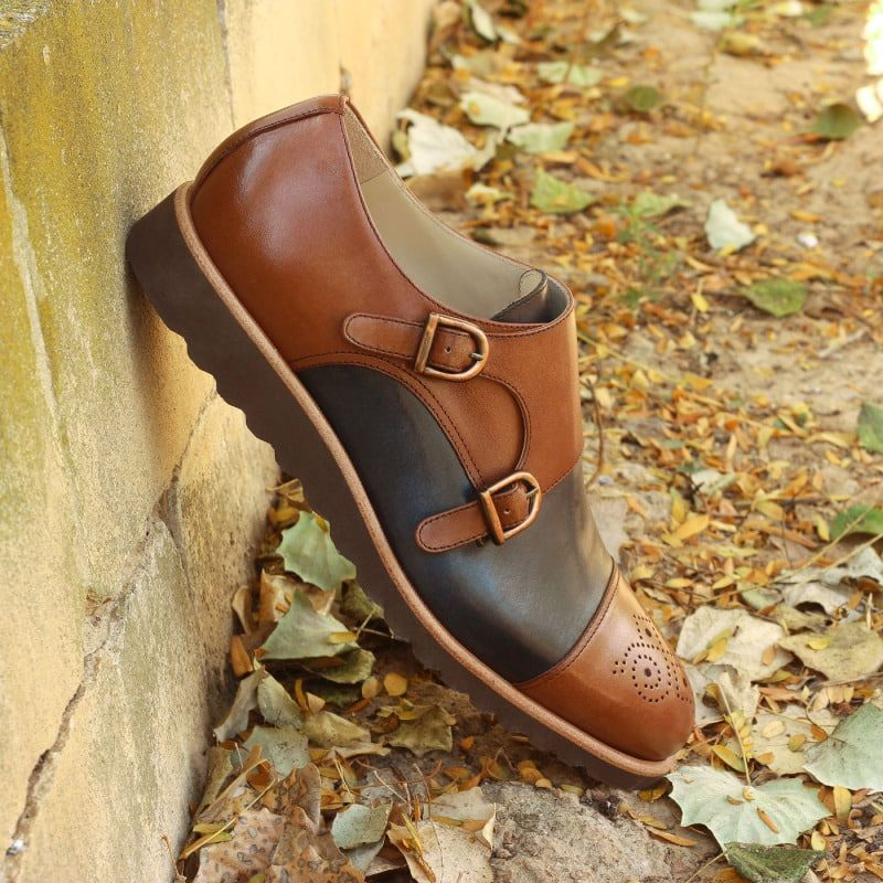Custom Made Double Monks in Navy Blue and Medium Brown Painted Calf