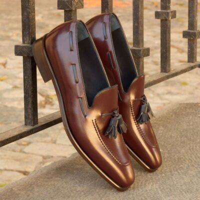 Custom Made Loafers in Burgundy Box Calf Leather with Navy Blue Tassels