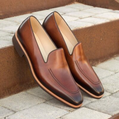 Custom Made Loafers in Burnished Medium Brown Painted Calf Leather with Dark Brown Piping