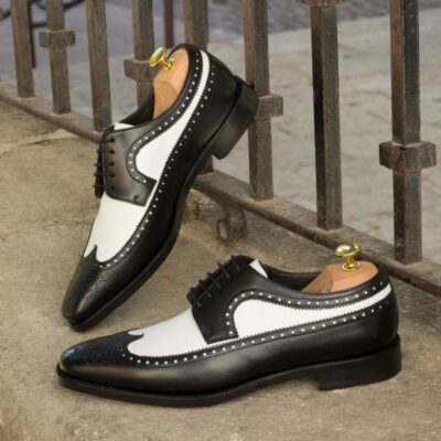 Custom Made Long Wingtip Blucher in Black and White Box Calf Leather