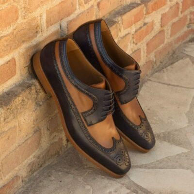 Custom Made Long Wingtip Blucher in Dark Brown, Medium Brown,and Navy Blue Painted Calf Leather