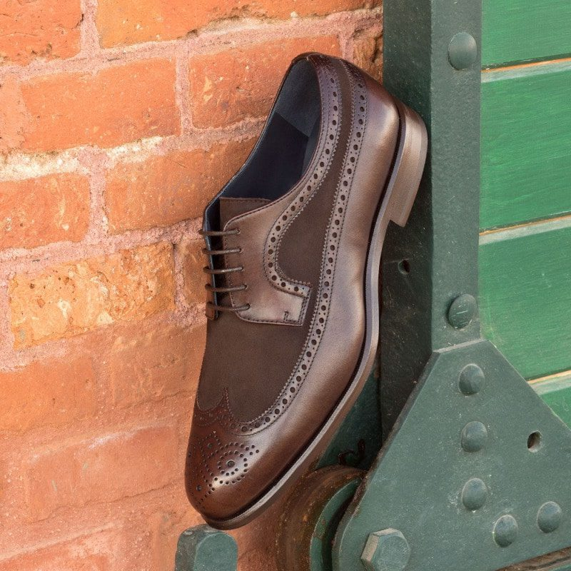 Custom Made Long Wingtip Blucher in Dark Brown Painted Calf and Kid Suede