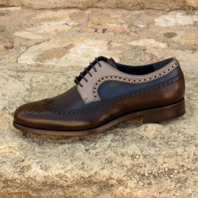 Custom Made Long Wingtip Blucher in Grey, Dark Brown and Navy Blue Painted Calf Leather