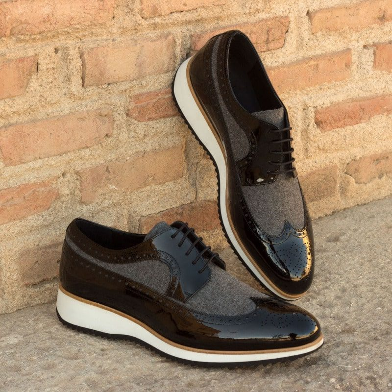 Custom Made Long Wingtip Blucher in Grey Flannel and Black Patent Leather