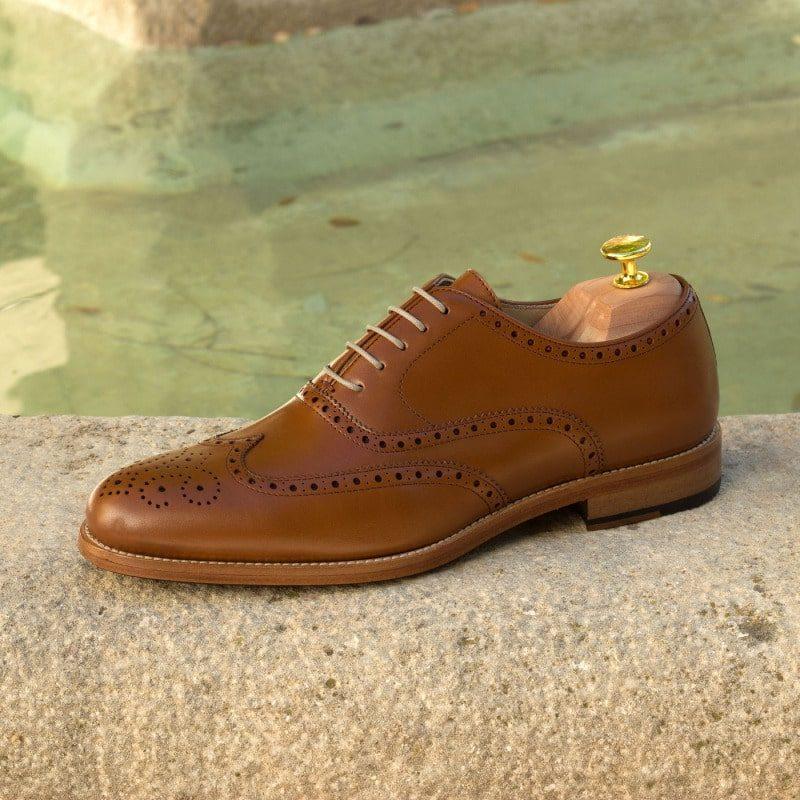 Custom Made Wingtips in Cognac Box Calf Leather