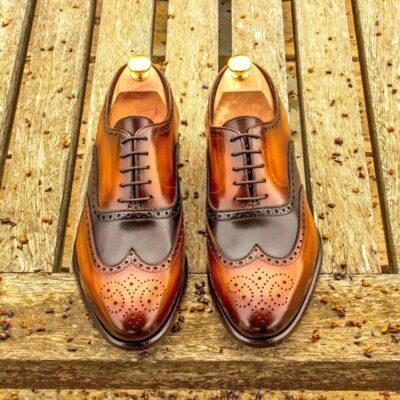 Custom Made Wingtips in Italian Raw Crust Cognac Hand Patina and Dark Brown Painted Calf