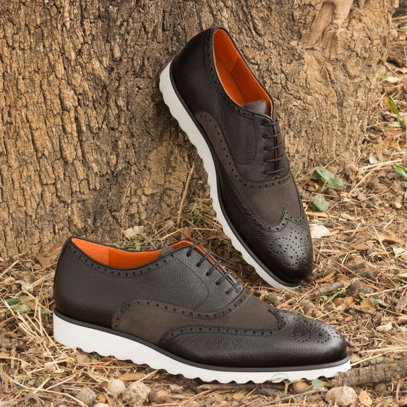 The Wingtip in Black Painted Full Grain Leather with Grey Luxe Suede
