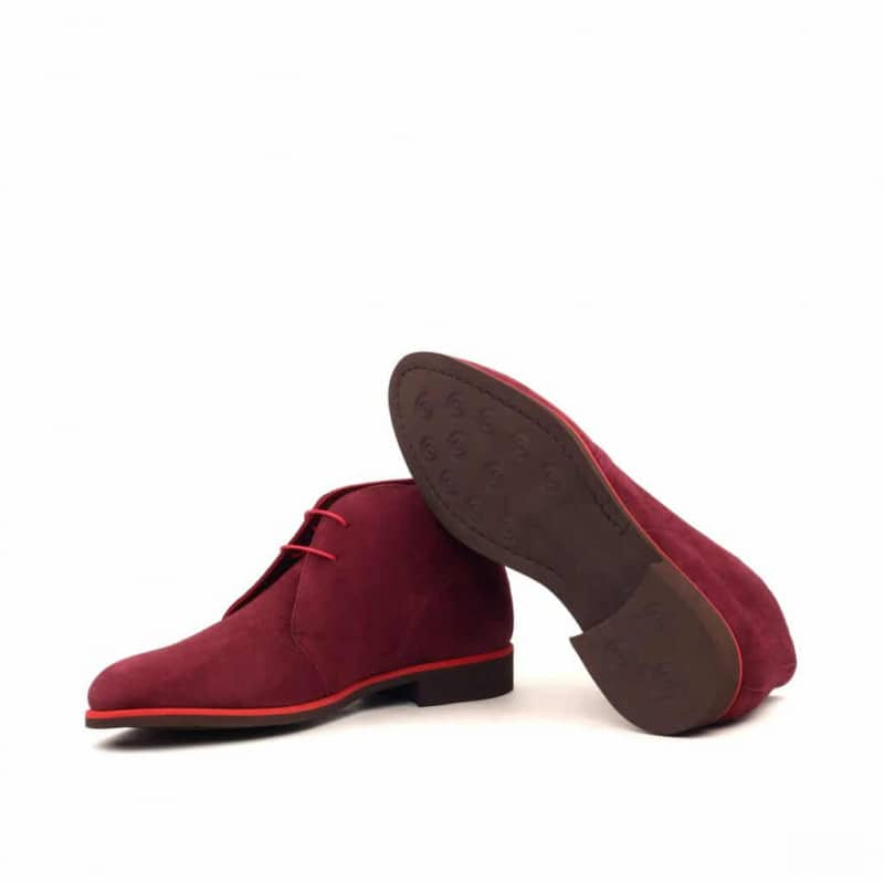 Custom Made Chukka Boot in Wine Kid Suede