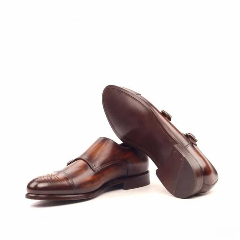 Custom Made Double Monks in Brown Hand Patina on Italian Raw Crust Leather