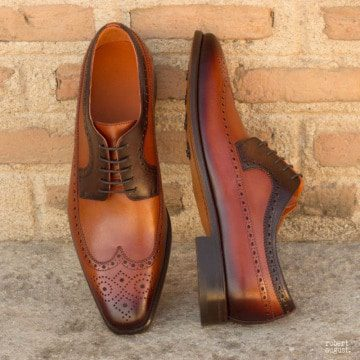 Custom Made Long Wingtip Blucher in Burnished Dark Brown and Cognac Painted Calf Leather