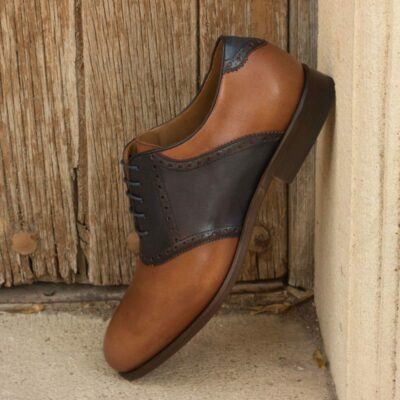 Custom Made Saddle Shoes in Medium Brown and Navy Blue Painted Calf Leather