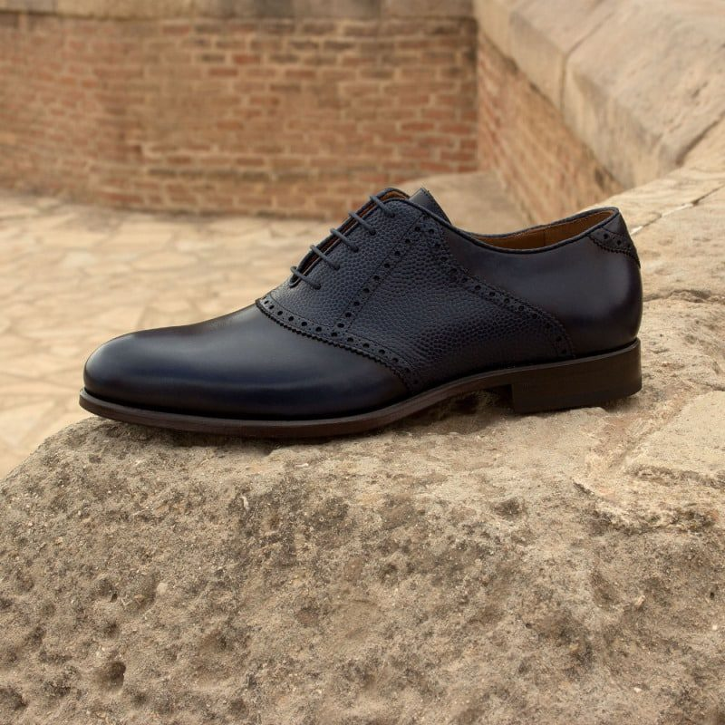 Custom Made Saddle Shoes in Navy Blue Painted Calf and Pebble Grain with Tan Calf Leather