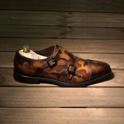 Custom Made Double Monks in Italian Raw Crust Leather with Brown Camo Hand Patina