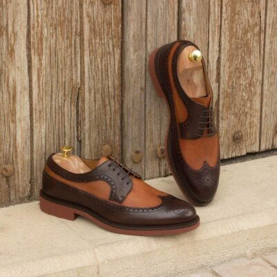 Custom Made Long Wingtip Blucher in Cognac and Dark Brown Painted Full Grain Leather