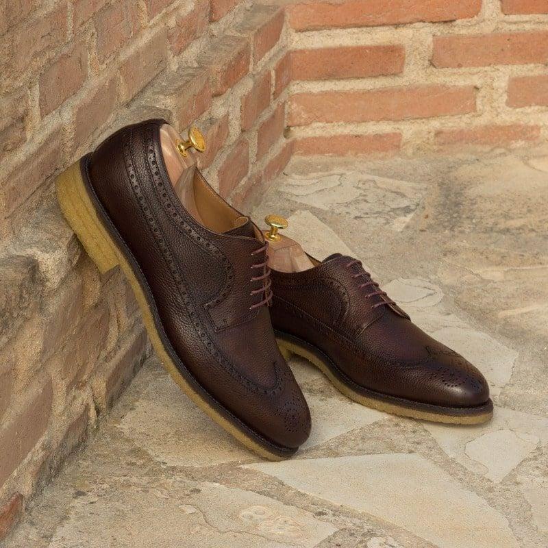 Custom Made Long Wingtip Blucher in Dark Brown Painted Full Grain Leather