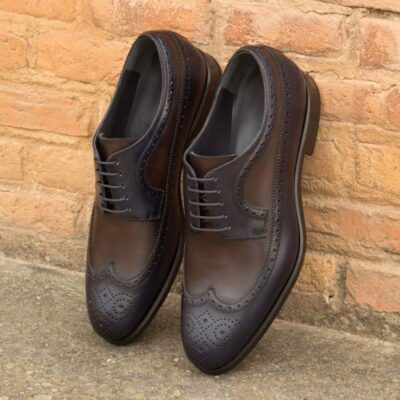 Custom Made Long Wingtip Blucher in Dark Brown and Navy Blue Painted Calf Leather