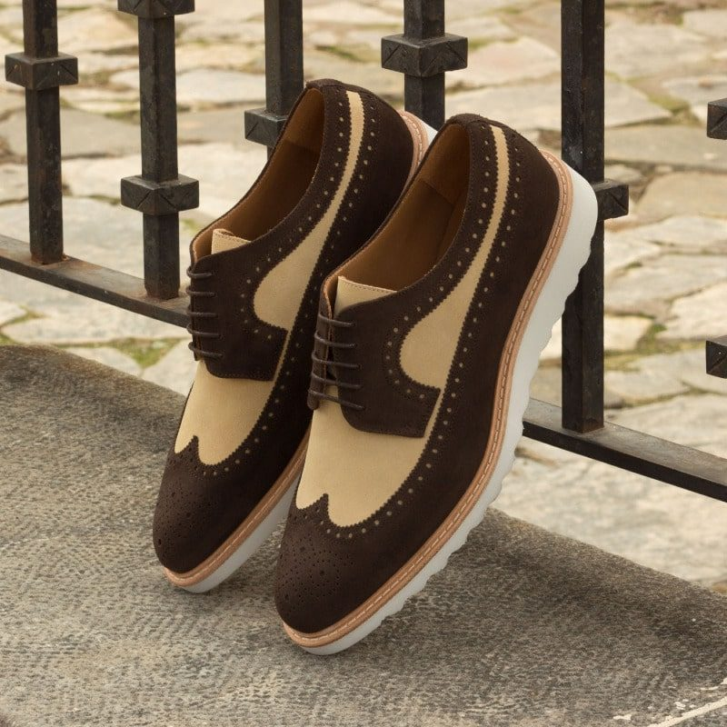 Custom Made Long Wingtip Blucher in Dark Brown and Sand Luxe Suede