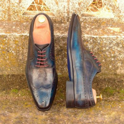 Custom Made Long Wingtip Blucher in Denim and Grey Marble Hand Patina