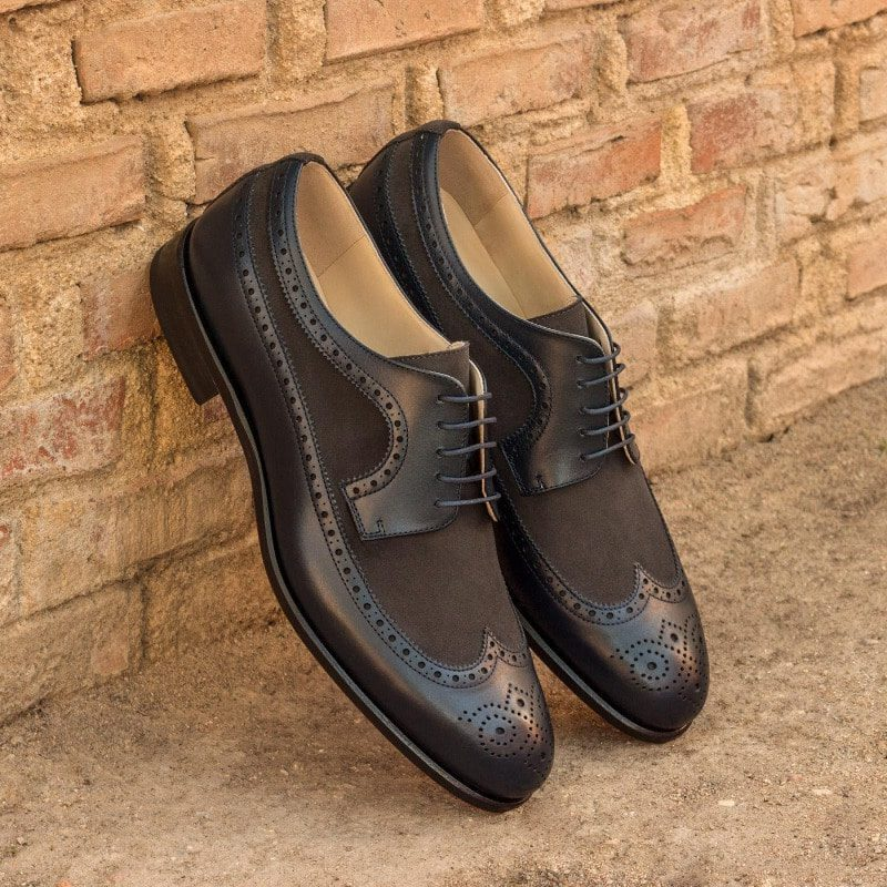 Custom Made Long Wingtip Blucher in Navy Blue Box Calf and Grey Luxe Suede