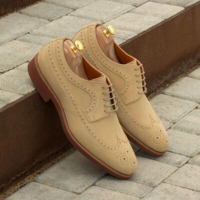 Custom Made Long Wingtip Blucher in Sand Luxe Suede