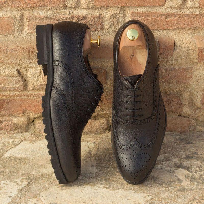 Custom Made Wingtips in Black Painted Full Grain Leather