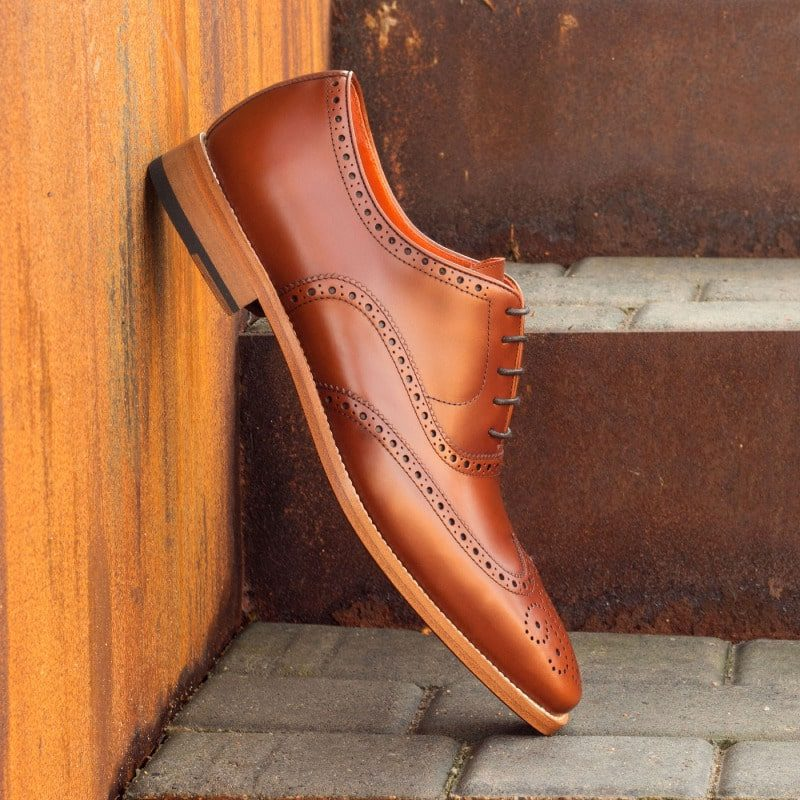 Custom Made Wingtips in Cognac Polished Calf Leather