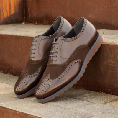 Custom Made Wingtips in Dark Brown Painted Calf Leather and Luxe Suede