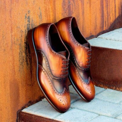 Custom Made Wingtips in Italian Raw Crust Leather with Cognac Crust Hand Patina with Dark Brown Painted Calf