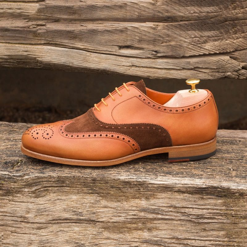 Custom Made Wingtips in Medium Brown Luxe Suede and Cognac Painted Calf Leather