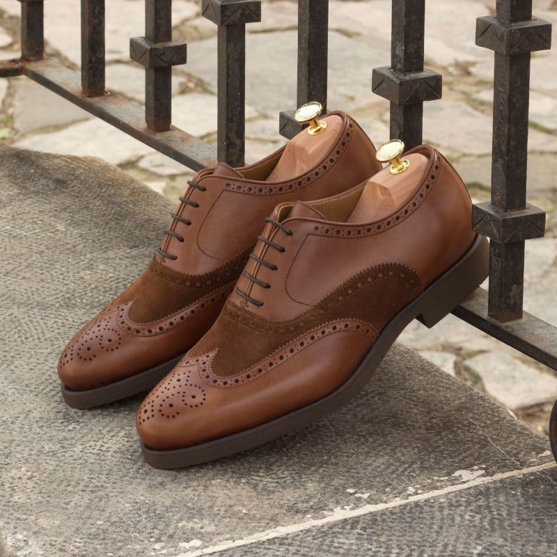 Custom Made Wingtips in Medium Brown Luxe Suede and Painted Calf Leather