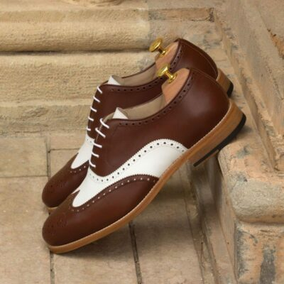Custom Made Wingtips in Medium Brown and White Box Calf
