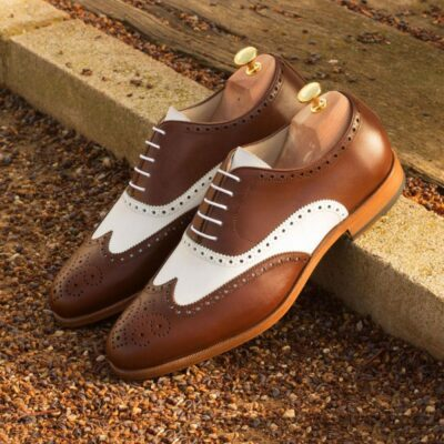 Custom Made Wingtips in Medium Brown and White Box Calf Leather