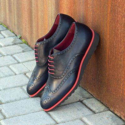 Custom Made Wingtips in Navy Blue Painted Calf Leather
