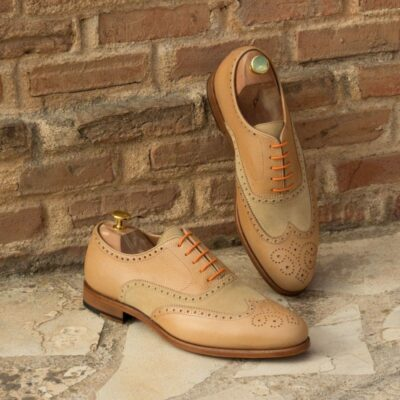 Custom Made Wingtips in Sand Luxe Suede and Fawn Pebble Grain Leather