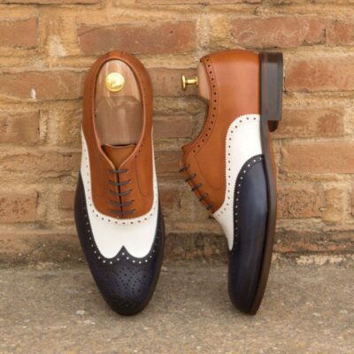 Custom Made Wingtips in White Box Calf with Cognac and Navy Blue Painted Calf Leather