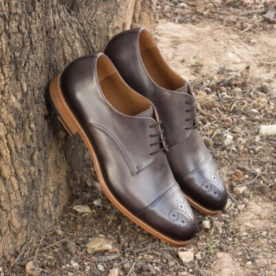 Custom Made Derby in Burnished Grey Painted Calf Leather