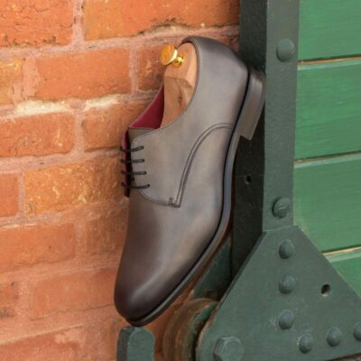 Custom Made Derby in Grey Painted Calf Leather