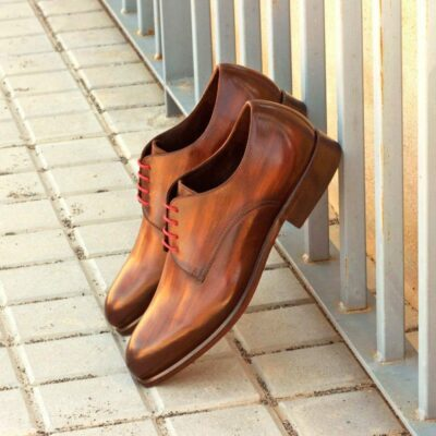 Custom Made Derby in Italian Raw Crust Leather with Brown Hand Patina