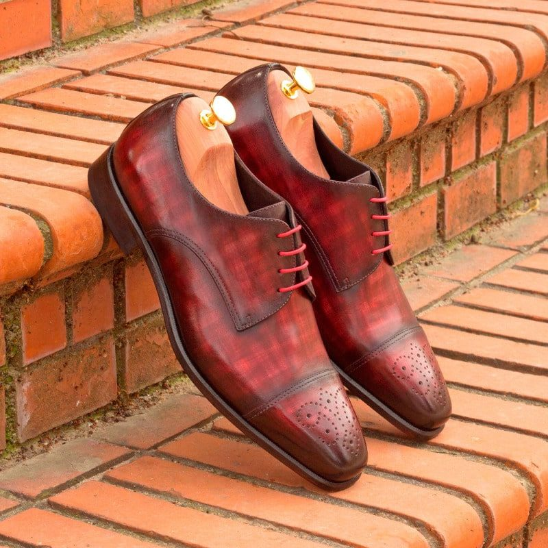 Custom Made Derby in Italian Raw Crust Leather with Burgundy Papiro Hand Patina and Black Patent Leather