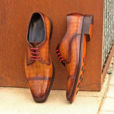 Custom Made Derby in Italian Raw Crust Leather with Cognac and Brown Papiro Hand Patina