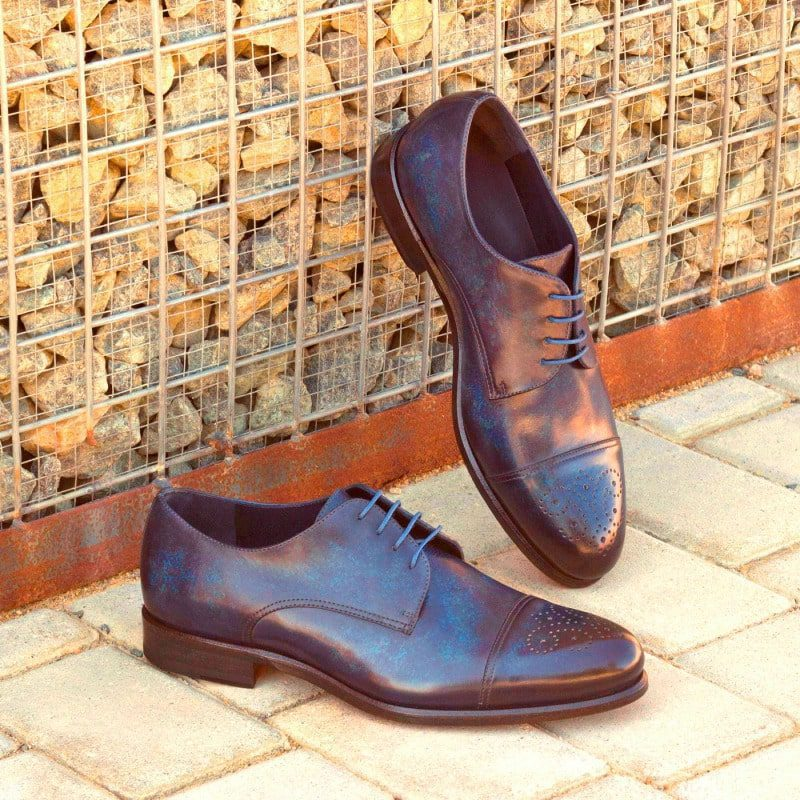 Custom Made Derby in Italian Raw Crust Leather with Denim Blue Marble Hand Patina