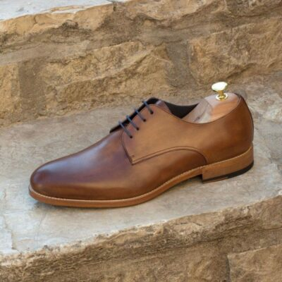 Custom Made Derby in Medium Brown Painted Calf Leather with Medium Brown Luxe Suede