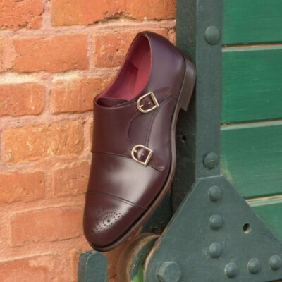 Custom Made Double Monks in Burgundy Box Calf Leather