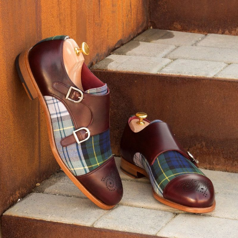 Custom Made Double Monks in Burgundy Painted Calf Leather and Tartan