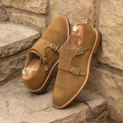 Custom Made Double Monks in Camel Luxe Suede