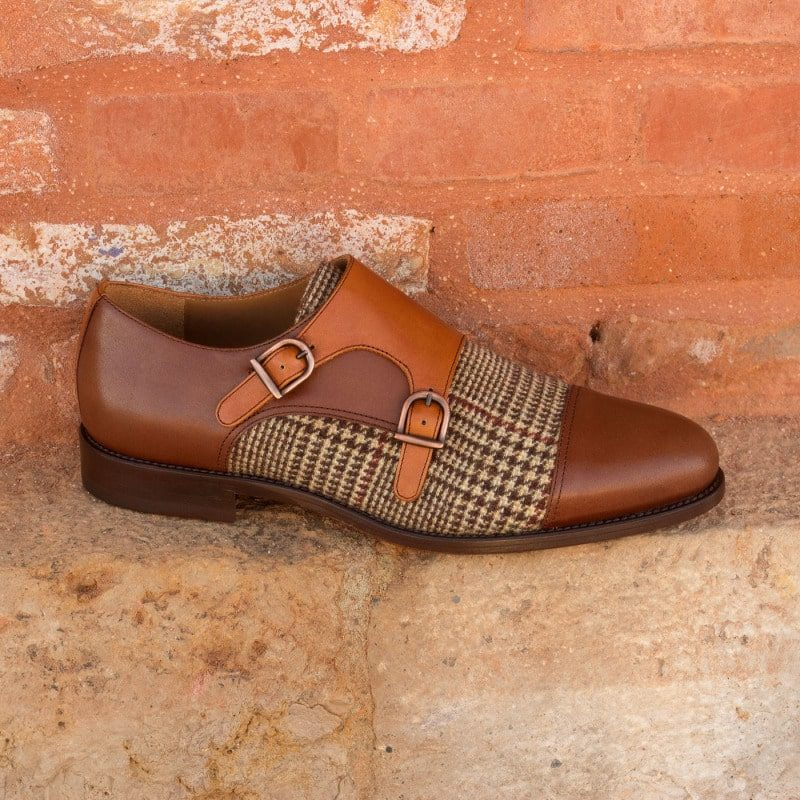 Custom Made Double Monks in Cognac and Medium Brown Painted Calf Leather with Wool Tweed