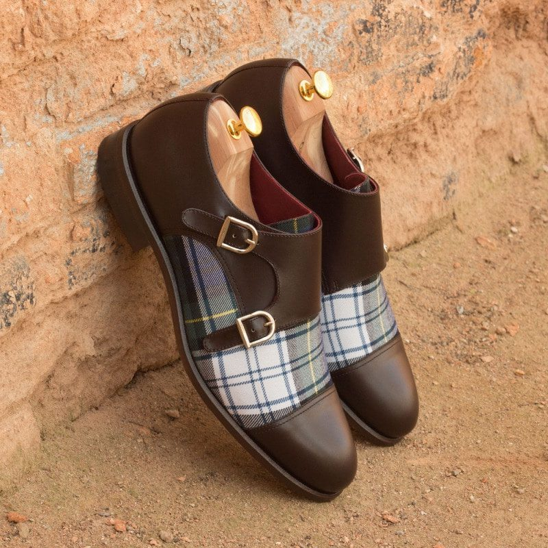 Custom Made Double Monks in Dark Brown Box Calf with Tartan Sartorial