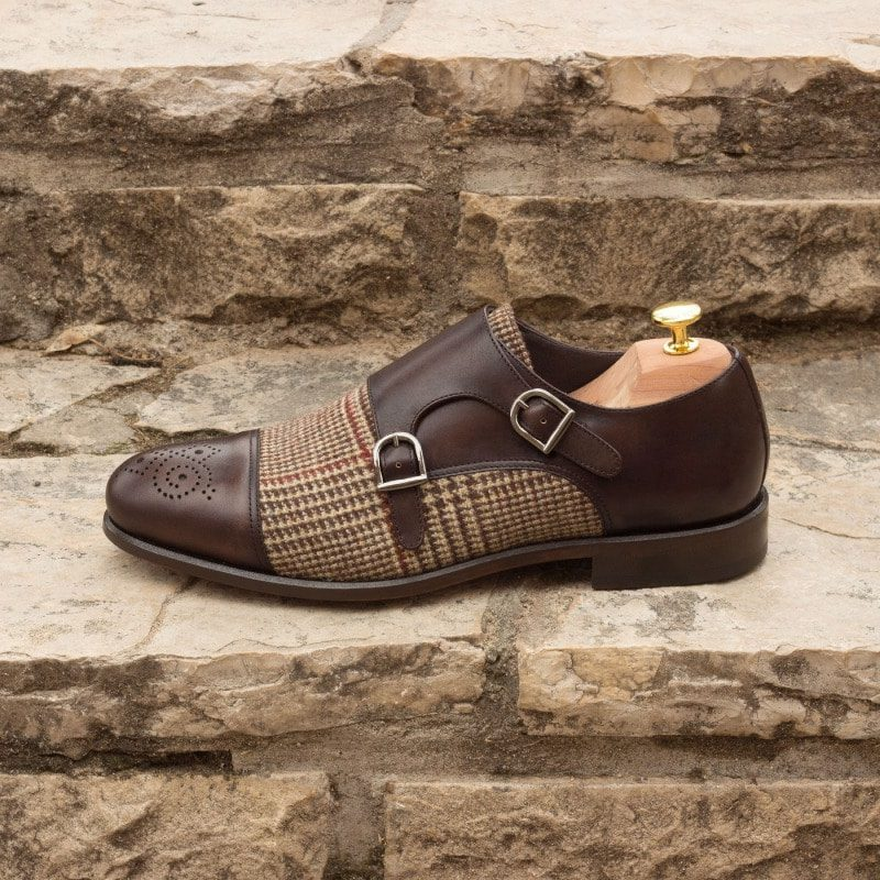 Custom Made Double Monks in Dark Brown Painted Calf Leather with Wool Tweed